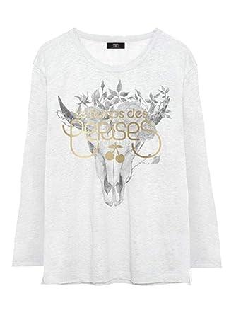 31d4c9caa9b17 Le Temps des Cerises-T-Shirt Manches Longues Blanc Ado Fille  Amazon ...