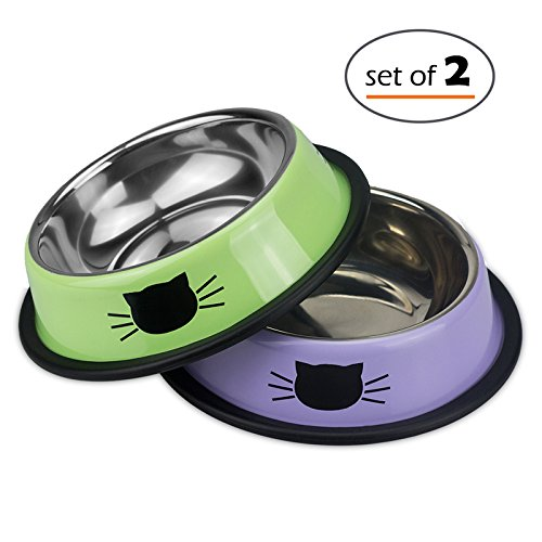 Petfamily Stainless Steel Cat Bowl, Heavy Duty Cats and Dogs Bowls with Non-Skid Rubber Base, Pet Food Bowls, 8 Ounce, Set of 2 (Green / Lavender) (Cat Dish)