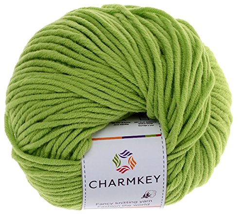 Charmkey Baby Cotton Yarn Simply Soft Boutique 4 Ply Medium Acrylic Blended Worsted Dungarees Knitting Yarn for Spring Summer Wear, 1 Skein, 1.58 Ounce (Green Flash)