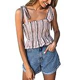 NUWFOR Women Print Sleeveless Overlap Cross Sling Crop Tank Top Vest(Pink,US M Bust:26.7-31.4'')