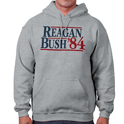 Brisco Brands Ronald Reagan George Bush 84 Campaign Shirt | USA Cool Gift Hoodie Sweatshirt (George Bush Usa Flag)