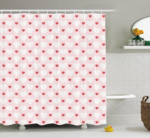 Pink Shower Curtain Set Love Decor By Ambesonne, Big and Small Hearts (Heart Shower Curtain)