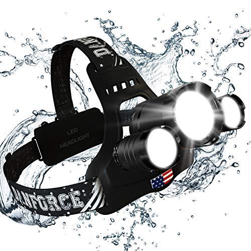 DanForce Brightest Headlamp Flashlight 2019 Version, 1080 Lumen Head Lamps Torch CREE LED,USB Rechargeable Headlamps with focus for Hunting,Tactical,Outdoor & Indoor, IPX45 Headlight,with red Light.