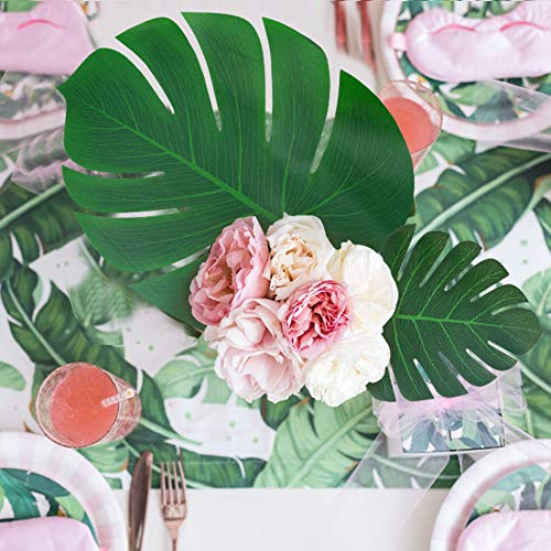 DomeStar Artificial Palm Leaves, 48 PCS 5 Sizes Tropical Faux Leaves Tropical Greenery Artificial Jungle Leaves Table Leave Decorations for Hawaiian Luau Party Beach Theme Party