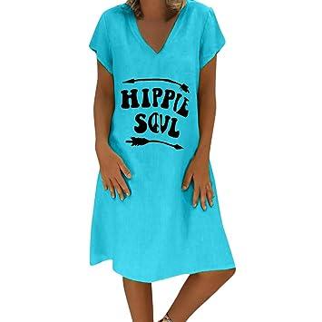 SMILEQ Vestido de Mujer Verano Hippie Soul Letters Imprimir Falda ...