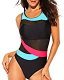 Funnygirl Women's One Piece Mesh Splicing Red Blue Stripes Color Block Swimsuit Backless Fashion Beach Swimwear Bathing Suit Small