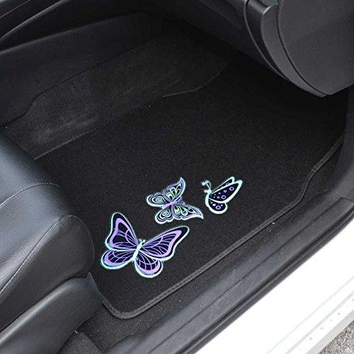 Customize Your Car Online >> Carpet Car Floor Mats - Embossed Neon Purple & Green Butterflies on Black - 4pc Set for Car Van ...