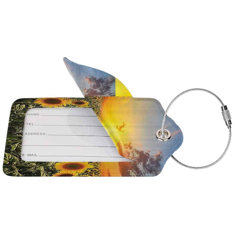 Small luggage tag Country Farm Garden Decorations Sunset over Colorful Sunflower Plants Field at Cloudy Evening Quickly find the suitcase Blue Brown Yellow Green W2.7 x L4.6