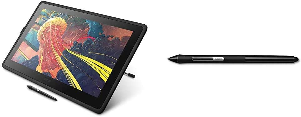 Wacom Cintiq 22 Drawing Tablet with HD Screen, Graphic Monitor, 8192 Pressure-Levels (DTK2260K0A) 2019 Version Bundle with Wacom Pro Pen Slim (KP301E00DZ)