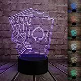 3D Illusion Lamps LED Night Light Casino Poker Dice Shape 7 Colors Table Desk Lamp for Home Office Childrenroom Theme Decoration and Kiddie Kids Children Family Holiday Gift