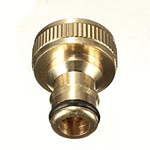 Funnytoday365 4 Solid Brass Threaded Tap Garden Hose Connect Adaptor Tap Snap Fitting Pipe