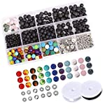 Numblartd Set of 500 Pcs 4-8mm Black Natural Lava Stone 7 Colors Chakra Beads Loose Beads and Zinc Alloy Spacer Beads for DIY Jewelry Making and Essential Oils