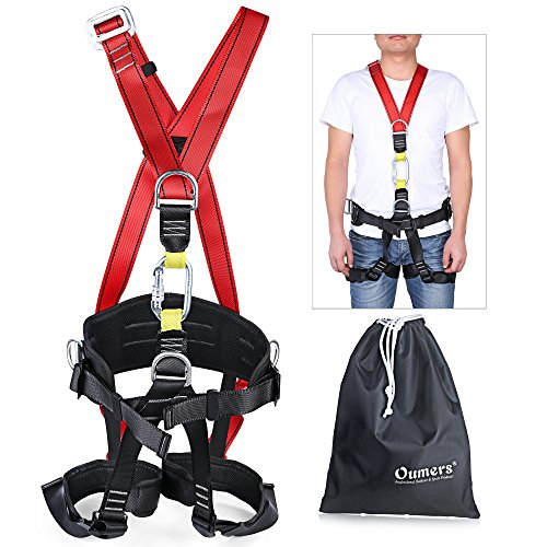Full Body Climbing Harness (Climbing Harness, Full Body Harness with Carabiner, Oumers Safety Seat Belts For High lines and Climbing Towers, Outward Band Fire Rescue Tree Harness Caving Rock Climbing Rappelling Equip)
