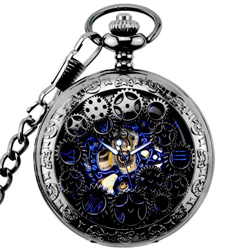 New Brand Mall Steampunk Blue Hands Scale Mechanical Skeleton Pocket Watch