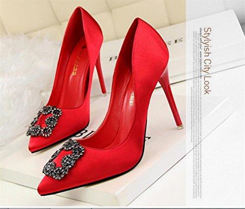 LUCKY ROAD Femmes Mesdames Mi-Bas Haut Talon Crossover Party De Mariage Prom Sandales Chaussures Taille Talon Stiletto Pompes,Red,EU40