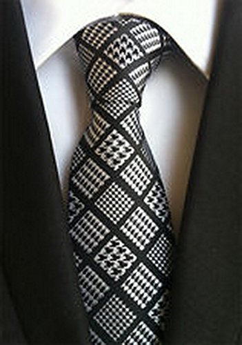 Jacob AleX #47060 Novelty Geometric Black Gray JACQUARD WOVEN Silk Men's Tie Necktie