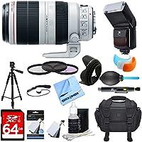 Canon (9524B002) EF 100-400mm f/4.5-5.6L IS II USM Lens w/ Ultimate Accessory Bundle includes Lens, 64GB SDXC Memory Card, Flash, Flash Cover, Tripod, 77mm Filter Kit, Lens Hood, Bag, Blower & More