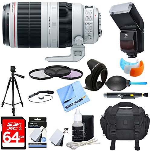 Canon (9524B002) EF 100-400mm f/4.5-5.6L IS II USM Lens w/ Ultimate Accessory Bundle includes Lens, 64GB SDXC Memory Card, Flash, Flash Cover, Tripod, 77mm Filter Kit, Lens Hood, Bag, Blower & More