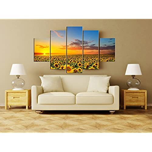 Incroyable PulsatingFingertip 5 Panels Sunflower Field Canvas Prints Flowers Artist  Canvas Wall Pictures Oil Painting For Living Room Decoration No Frame