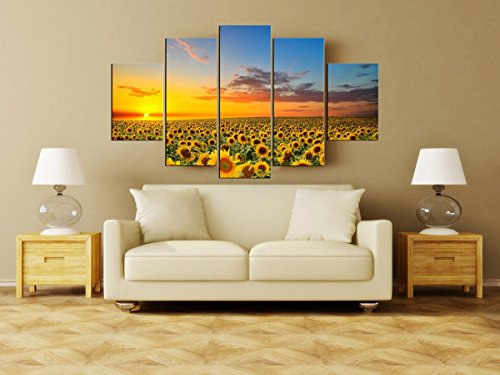 5 Panels Sunflower Field Canvas Prints flowers Artist Canvas Wall Pictures Oil Painting for Living Room Decoration No Frame