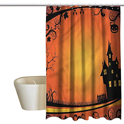 Denruny Shower Curtains Rose Gold Halloween,Curvy Tree Branches Frame,W108 x L72,Shower Curtain for Bathroom