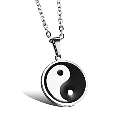 Jsea Stainless Steel Yin Yang Necklace One Piece Chinese Symbol