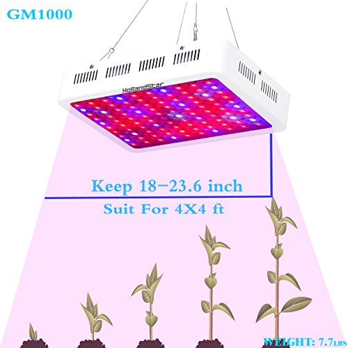 HollandStar 1000W LED Grow Light, LED Plant Light for Indoor Plants Veg and Flower for Growing Fresh Herbs, Vegetables, Salad Greens, Flowers and more,With ON/OFF Switch