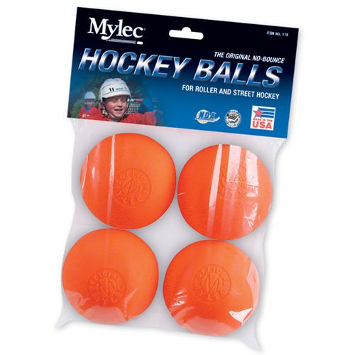 Mylec Orange Warm Roller Hockey Balls- 4 Pack