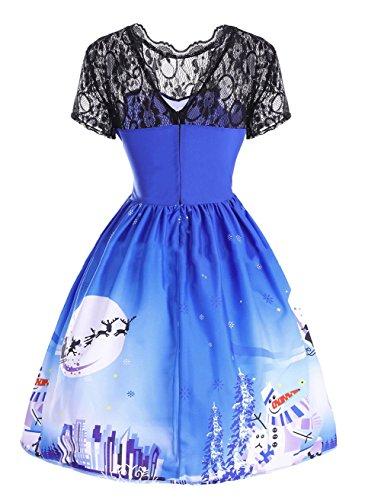con fiesta V de cóctel Vestido partido fiesta hasta cuello de de sin Vestido en fiesta tamaño de gran de la vestido de tamaño sin Rockabilly mangas rodilla Azul Vestido Scothen de mangas Vestido ZEq577
