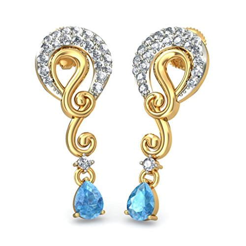 Or jaune 18 K 0,32 CT TW White-diamond (IJ | SI) et topaze bleue Pendants d'oreilles