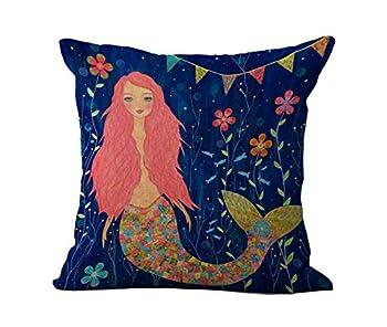 Loool Mediterranean Style 18 By 18 Inch Cotton Linen Colorful Mermaid Home Decorative Throw Pillow Case Cushion Cover Pillowcase / Pillow Shams