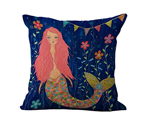 Loool Mediterranean Style 18 By 18 Inch Cotton Linen Colorful Mermaid Home Decorative Throw Pillow Case Cushion Cover Pillowcase / Pillow Shams