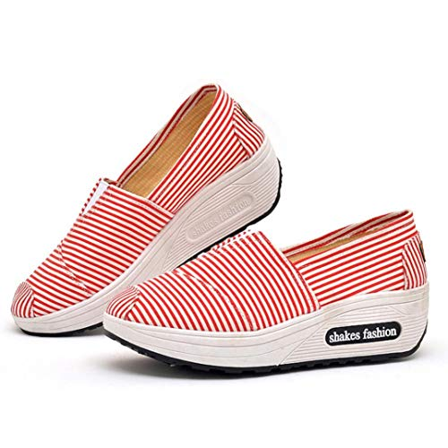 Women Shoes, Leedford Fashion Women Round Head Breathable Leisure Canvas Sports Shoes Shake Shoes (Red, 38) by Leedford Women Shoes