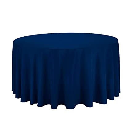Bon Gee Di Moda Tablecloth   120u0026quot; Inch Round Tablecloths For Circular  Table Cover In Navy