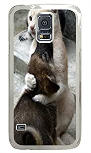 Samsung S5 case discount cover Dog And Cat Friendship PC Transparent Custom Samsung Galaxy S5 Case Cover
