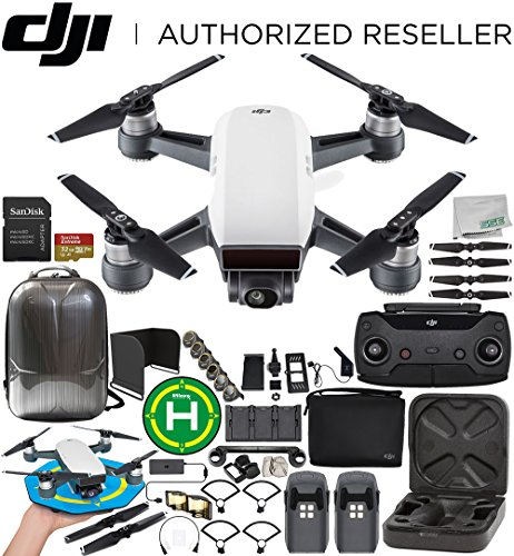DJI Spark Portable Mini Drone Quadcopter Fly More Combo (Alpine White) Ultimate Accessory Bundle
