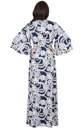 KOH KOH® La Mujer Vestido maxi estampado manga larga Azul Marino