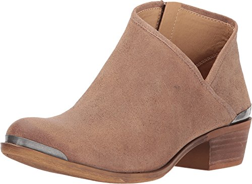 Lucky Brand Breeza Sesame Nude Suede Asymmetrical Low cut Basel Ankle Bootie (6.5)