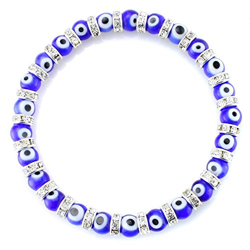 (JewelrieShop Turkish Evil Eye Bracelet Murano Glass Beads Beaded Clear Crystal Spacer Bracelet for Women Girls (6mm Blue Eye)