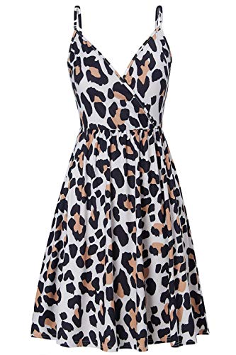 RAISEVERN Women's V Neck Sexy Leopard Dress Adjustable Spaghetti Strap Dresses Summer Hawaiian Beach Flared Swing Dress with Pocket