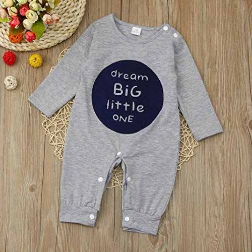 Omiky® Neugeborenes Säuglingsbaby-Mädchen-langes Hülsen-Buchstabe-Spielanzug-Overall-Kleidung-Ausstattungen Grau