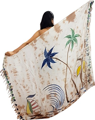 TIE & DYE ISLAND Brown Tie Dye Sexy Looking New Designed Pareo Sarong Womens Swimsuit Wrap Cover Up (Brown)