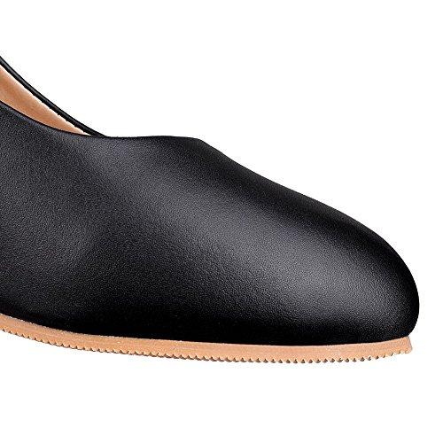 AalarDom Femme Tire PU Cuir Rond à Talon Correct Couleur Unie Chaussures Légeres Noir SIxdc