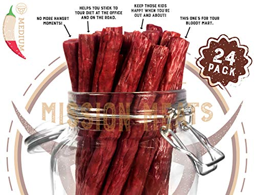 TASTY & SPICY Non-GMO Grass-Fed Beef Sticks Gluten Free MSG Free Nitrate Nitrite Free Paleo Snacks Keto Healthy Natural Meat Sticks (Jalapeno Pepper Grass Fed Beef, 24 Count)