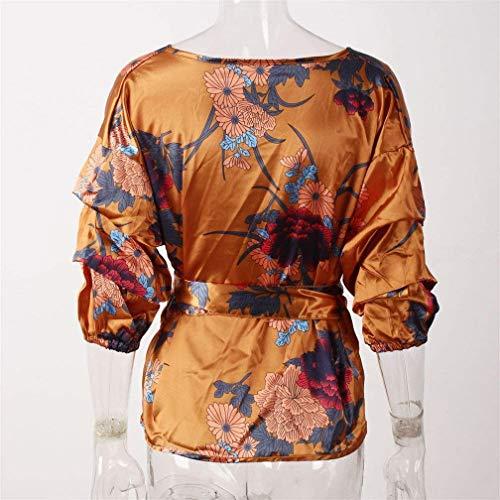 Manches sans Festive Vintage V Longues Bretelles Blouse Shirt Bowknot Sangle avec Fleur Elgante Haut Rose Automne Cou breal Chemisier Femme Motif Fashion Printemps 8W45wFPaq