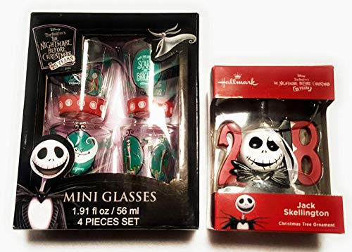 Tim Burton's 2018 The Nightmare Before Christmas (25 Years) Collectible Mini Glasses & Jack Skellington 2018 Christmas Tree Ornament ()