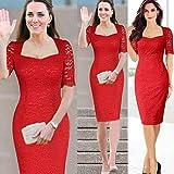 Stylish Red Lace Women's party dress clubwear OL commuter pencil skirt Fashion Uniform