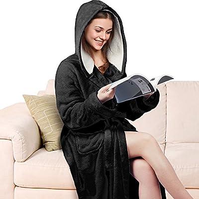Women s Hooded Long Robe Fluffy Plush Fleece Bathrobe Super Soft 9bae0d1d1