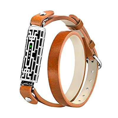Fitbit Flex 2 Bands, Metal and Genuine Leather band for Fitbit Flex 2 by GHIJKL, Flex2 Strap Style