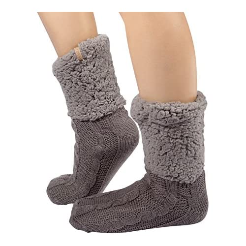 Unique Styles Women Plush Sherpa Lined Slipper Socks with Non Skid Sole Knit Warm Cozy Soft Footwear (Solid Grey)